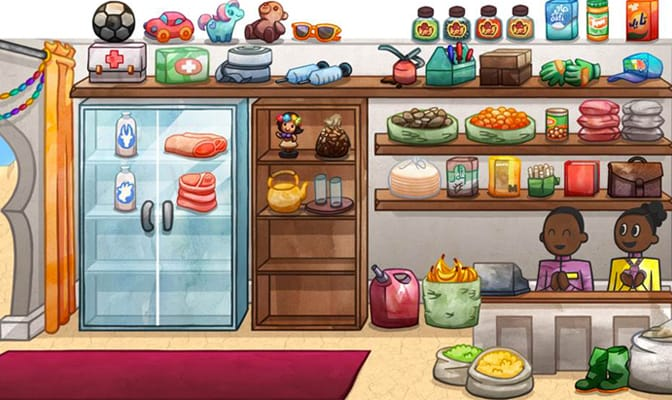 An illustration from an educational game, featuring two people working at a shop.